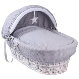 image-Silver Lining Moses Basket with Bedding Clair De Lune