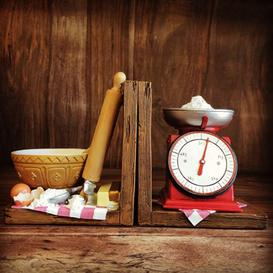image-Baking Scales Shelf Tidy Pair Bookends