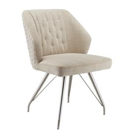 image-Natural Textured Linen Effect Occasional Brushed Steel Framework Chair set of 2