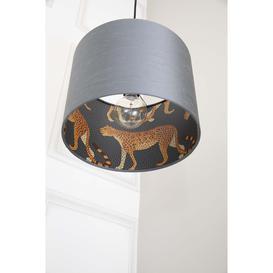 image-Leopard Walk Silk Hand Rolled Shade Lamp Black 40cm Diameter