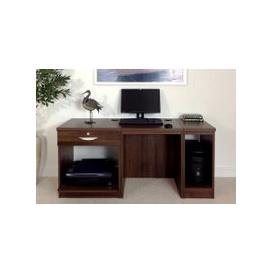 image-Small Office Desk Set With Single Drawer, Printer Shelf & CPU Unit (Walnut)