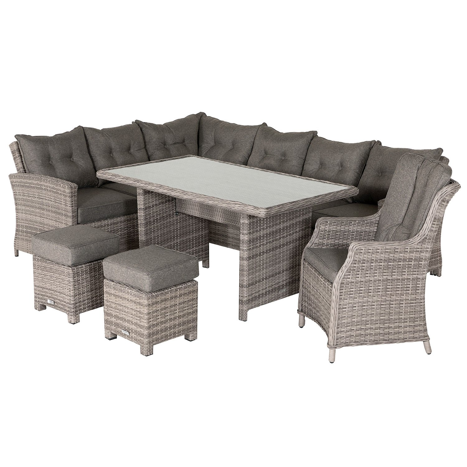 image-Sorrento Rattan Garden Corner Dining Set with Chair in Grey