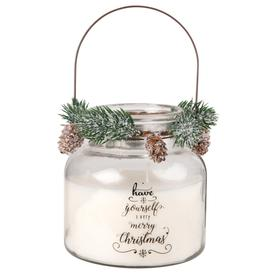image-Scented Christmas Candle in Glass Holder with Wreath