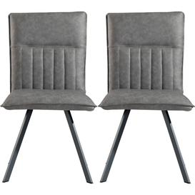 image-Grey Faux Leather Dining Chair (Pair)