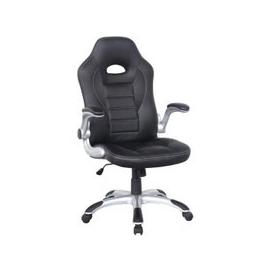 image-Witney Home Office Racing Chair In Black Faux Leather