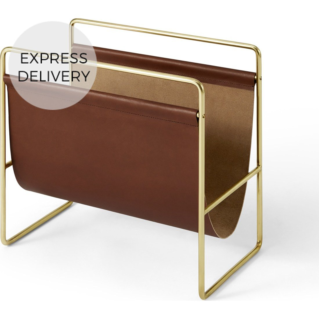image-Kyri Leather Magazine Rack, Tan
