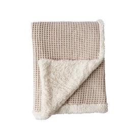 image-Cascade Home Luxury Knitted Waffle Sherpa Throw