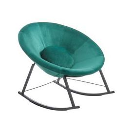 image-Artos Velvet Rocking Chair In Teal With Chrome Legs