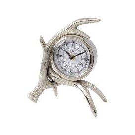 image-Glentory Silver Metal Antlers Mantel Clock