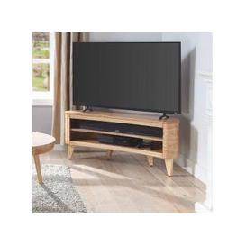 image-Elmon Wooden Corner TV Stand In Ashwood Finish