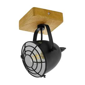 image-Eglo 49076 Gatebeck 1 Light Ceiling Spotlight In Natural Wood And Black