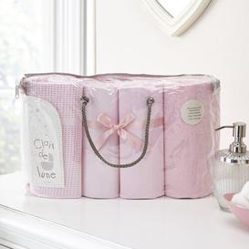 image-Moses Basket Bale Gift 4 Piece Cot Bedding Set Clair De Lune Colour: Pink