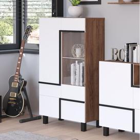 image-Keaton Display Cabinet Ebern Designs Colour: Craft Tobaco/White
