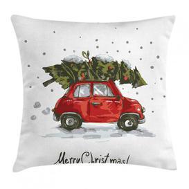 image-Haghbarth Christmas Car with Tree Outdoor Cushion Cover Ebern Designs Size: 60cm H x 60cm W