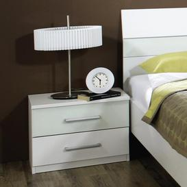 image-Relation Plus 2 Drawer Bedside Table Rauch Colour: Brushed aluminium / Blackberry print