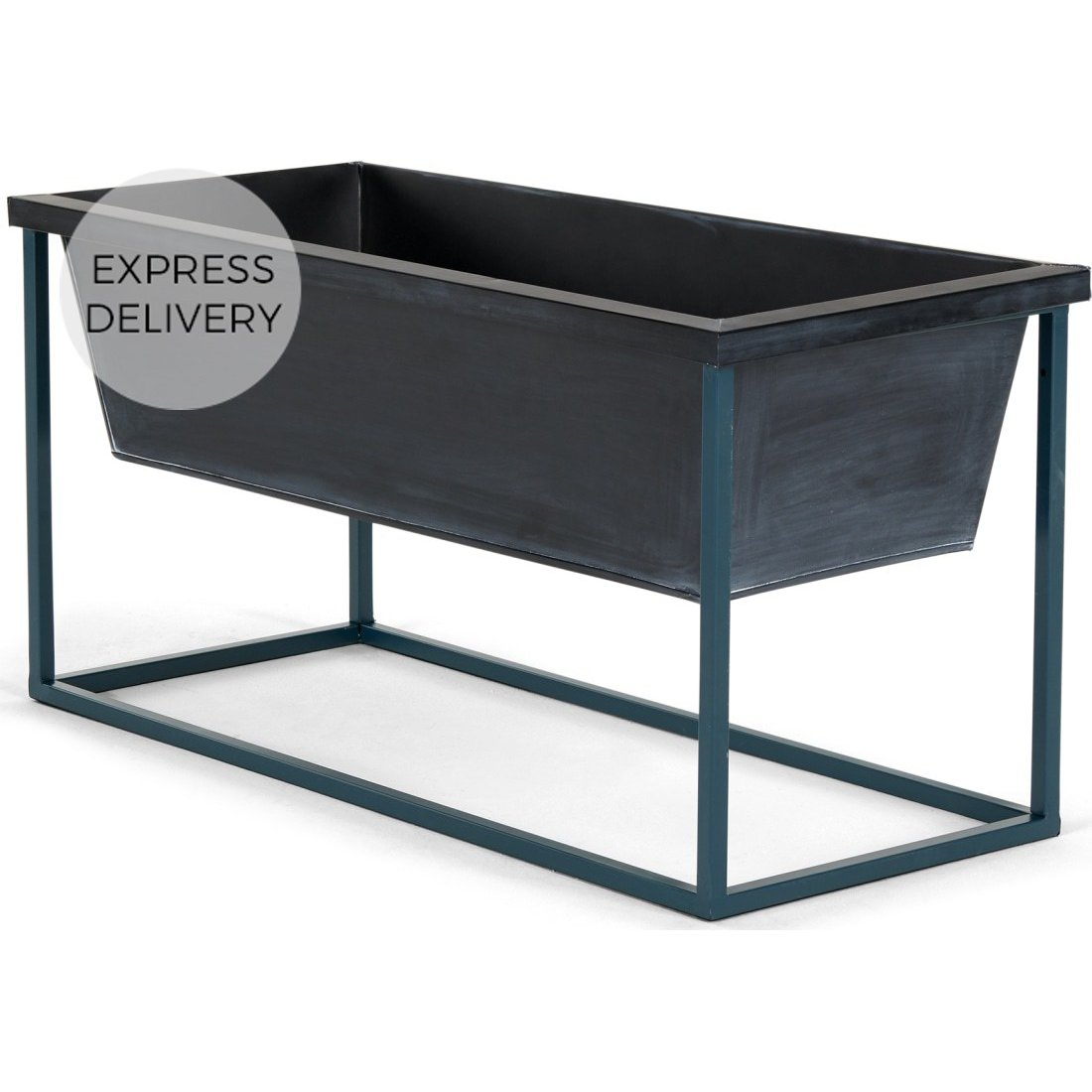 image-Noor Free Standing Low Galvanized Iron Rectangular Plant Stand, Black & Teal