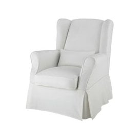 image-Cotton armchair cover in ivory Cottage