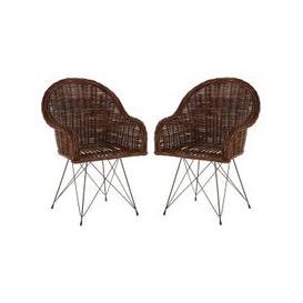 image-Hunor Natural Croco Rattan Chair In Pair