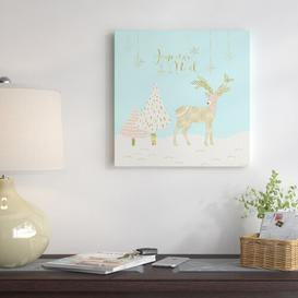 image-'Glitter Deer Winter Christmas' - Graphic Art Print East Urban Home Format: Canvas, Size: 76 cm H x 76 cm W x 3 cm D