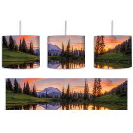 image-Mountain Landscape at Sunrise 1 Light Drum Pendant East Urban Home Shade Colour: Green/Orange