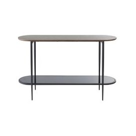 image-Tempered Glass and Black Metal Console Table Spiga