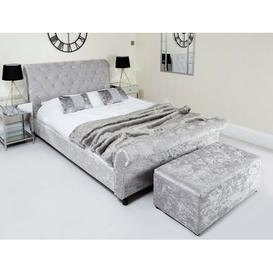 image-Hough Upholstered Bed Frame Rosdorf Park Size: Kingsize (5'), Colour: Silver