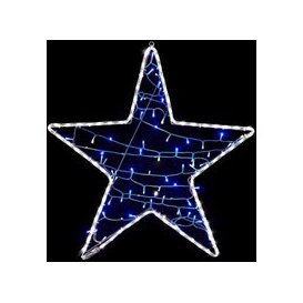 image-White Rope Light Star With A String Of 80 LED Blue Lights