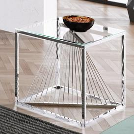 image-Bolzano Clear Glass Side Table With Silver Stainless Steel Legs