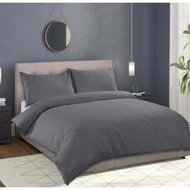 image-Chanelle 180 TC Percale Duvet Cover Set Ebern Designs Colour: Grey, Size: Single