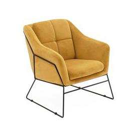 image-Klaus Velvet Fabric Bedroom Chair In Mustard