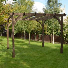 image-Randi Manufactured Wood Pergola Sol 72 Outdoor Finish: Rustic Brown, Size: 270cm H x 420cm W x 420cm D