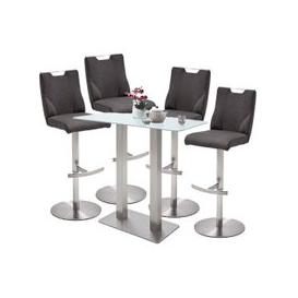 image-Soho White Glass Bar Table With 4 Jiulia Anthracite Stools