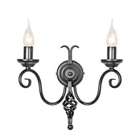image-Ballycastle 2-Light Candle Wall Light Astoria Grand Colour: Black