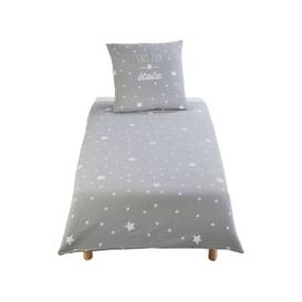 image-Children's Grey Cotton with White Star Print Bedding Set 140x200