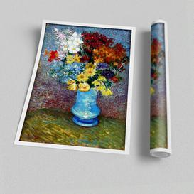 image-'Van Gogh Flowers in A Blue Vase' - Graphic Art on Paper East Urban Home Size: 84.1 cm H x 118.9 cm W