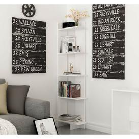 image-Lynnfield Corner Bookcase Zipcode Design Colour: White, Size: 170.18cm H x 45.72cm W x 22.86cm D
