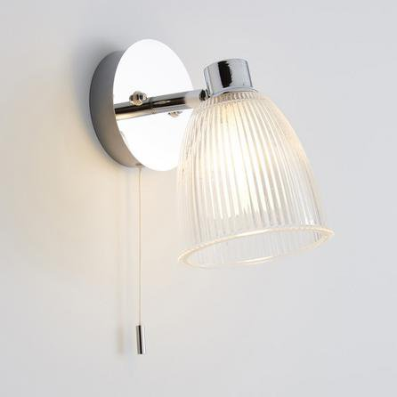 image-Bremont Ribbed Glass Bathroom Wall Light Silver
