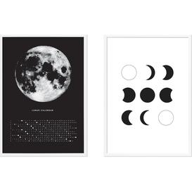 image-Moon Phase Diary Set of 2 Framed Wall Art Prints A2, Black & White