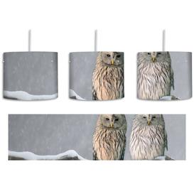 image-2 Owls on a Winter Landscape 1-Light Drum Pendant East Urban Home Shade colour: Grey/Brown