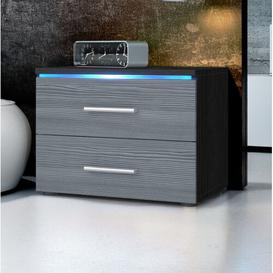 image-Faro 2 Drawer Bedside Table Vladon Colour: Black (matt)/Avola anthracite, Lighting included: No