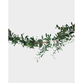 image-Green Leaf & White Floral Artificial Christmas Garland