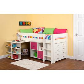 image-Kool European Single Mid Sleeper Loft Bed with Drawers and Shelves Stompa Colour (Fabric/Accessory): Pink