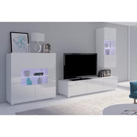 image-Calabrini Set 7 Entertainment Unit - White Gloss 250cm