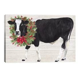 image-'Christmas on The Farm III - Cow with Wreath' Painting Print on Canvas August Grove