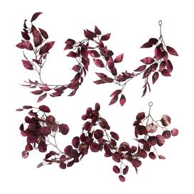 image-A by AMARA Christmas - Glitter Leaf Garland - Set of 2 - Burgundy