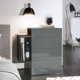 image-Queens 2 Drawer Bedside Table Vladon Colour (Frame / Table Top): Grey, Features: Without LED