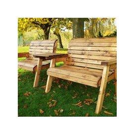 image-Twin Straight 2 Seater Scandinavian Redwood Garden Bench Set