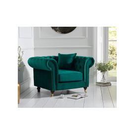 image-Cameo Chesterfield Green Velvet Armchair