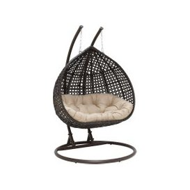 image-Willow Garden Hanging Chair, Brown Weave and Beige Fabric