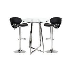 image-Poseur Glass Bar Table With 2 Black Leather Nigella Stools